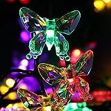 ETASSO Solar-Weihnachtslicht 24.6ft 7.5m 40 LED 8 Modes Schmetterling feenhafte Beleuchtung für Halloween, Outdoor, Garten, Hochzeit, Weihnachten, wasserdicht (40 LED warmweiß / white / multi Farbe)