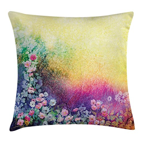 ZTLKFL Watercolor Flower Home Decor Throw Pillow Cushion Cover, Ivy Floral Beauty in Spring Soft Natural Paradise Print, Decorative Square Accent Pillow Case, 18 X 18 Inches, Purple Yellow - Paradise Box-spring