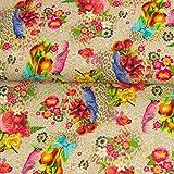 Stoffe Werning Dekostoff Papageien & Blumen beige bunt