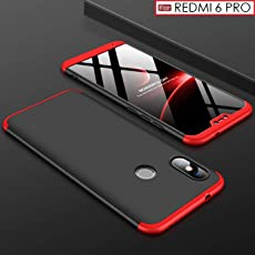WOW Imagine 3-in-1 Double Dip Anti Slip Super Slim Hybrid All Angle Protection Lightweight Matte Hard Back Case Cover for XIAOMI REDMI 6 PRO - Black with Red