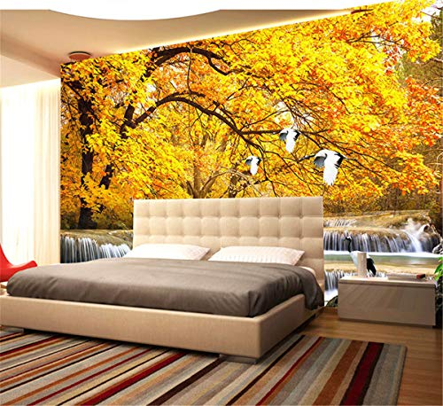 Wandmalerei 3D Wallpaper Gold Bäume Späten Herbst Wald Wasser Landschaft Wandbild Schlafzimmer Wohnzimmer Hintergrund Dekoration, 250Cmx175Cm