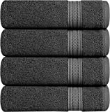 Utopia Towels 700 GSM Cotton Large Hand Towels (Grey, 4-Pack, 41 x 71 cm) - Multipurpose Use for Bath, Hand, Face, Gym and Spa