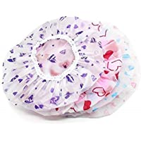 CHEM-AB ENTEREPIRSE® Set of 3Pc Reusable Printed Shower Cap With Elastic Band For Home Use/Salons/Spa/Hair treatment…