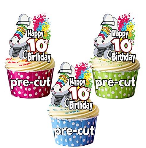vorgeschnittenen Rollschuhe skating- 10. Geburtstag–Essbare Cupcake Topper/Kuchen Dekorationen (12Stück)