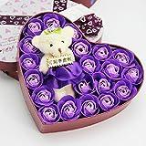 CDKJ Herz Box Bär Rose Blume Seife Bouquet Valentines Geschenk