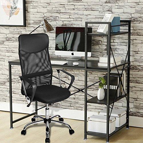 Sedia da ufficio, poltrona girevole, sedia da scrivania, grigio scuro, ergonomica, regolabile in altezza, schienale in rete