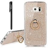 BtDuck Samsung Galaxy S6 Edge Hülle Silikon Transparent Slim mit Ring Handyhülle Glitzer Papier 2 in 1 Schutzhülle Metall Ring Stand Ständer Bumper Case Smartphone Halter Ständer Ringhalter
