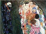 Posterlounge Leinwandbild 160 x 120 cm: Tod und Leben von Gustav Klimt - fertiges Wandbild, Bild auf Keilrahmen, Fertigbild auf echter Leinwand, Leinwanddruck