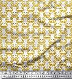 Soimoi Gold Baumwoll-Voile Stoff Filigran Damast gedruckt