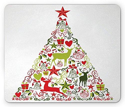 TANGGOOD Weihnachten Mauspad neues Jahr Thema beliebte saisonale traditionelle Ornamente und Sterne und Baum Matten Standardgröße rechteckige rutschfeste Gummi-Mauspad multicolor