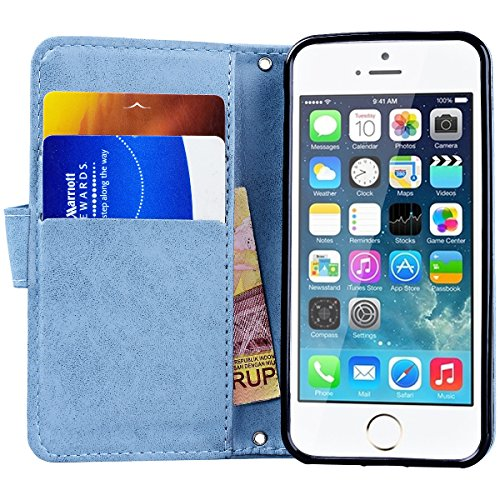 Yokata iPhone 6 / iPhone 6s Hülle Leder Premium Handyhülle Handy Schutzhülle Flip Case Wallet Tasche Handytasche mit Kartenfach Ständer Halter und Magnetverschluss Brieftasche Etui Schale Weiche Silik Blau