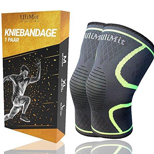 ULIMIT Kniebandage Kompression für Bodybuilding, Joggen und anderen Sport bei Meniskus- und Knieschmerzen für Männer & Frauen bei Kreuz- und Innenbandproblemen - Regeneration des Kniegelenks (M)