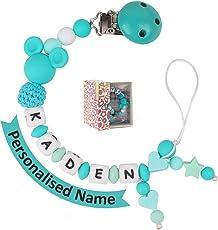 Schnullerkette mit Namen Junge Mädchen Baby Zahnen Silikon Selber Machen für Kinder Geschenk zur Geburt, Taufe, Babyparty