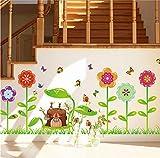 ufengke Cartoon Garten Bunte Blumen Schmetterlinge und Bienen Wandsticker,Kinderzimmer Babyzimmer Entfernbare Wandtattoos Wandbilder