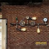 Pumpink Tubo de Agua Lámpara de Pared de Hierro Lámpara de Pared de Cadena de Engranajes industriales Vintage Reloj de Bolsillo Retro Arandela para Parede Iluminación del hogar