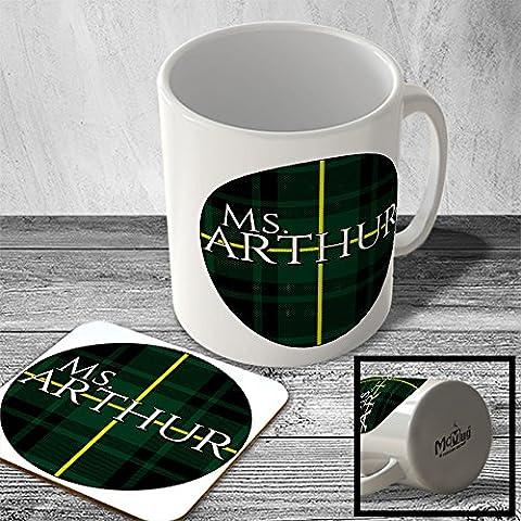 MAC_CLAN_1985 Ms. ARTHUR (MacArthur Modern Tartan) (circle background) - Scottish Surname Mug and Coaster