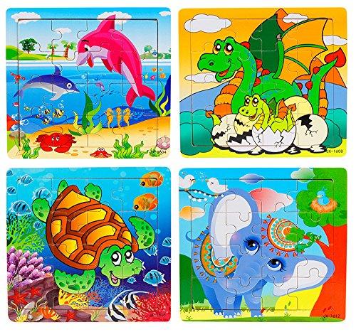 Niños Animal Juguetes de madera Jigsaws de madera-PRAGOO Lindo rompecabezas Puzzle cuadrado Delfín Tortuga Dinosaurio Elefante educación y juguetes de aprendizaje