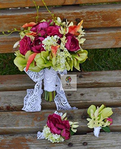 Yxhflo Fleur D'Émulation De L'Art De Fleur De Mariage Bouquets De Mariée Part Rose Green, Mlle Rose Lin