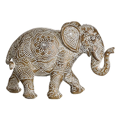 Figura de Elefante Blanca de Resina étnica para la Entrada Sol Naciente...