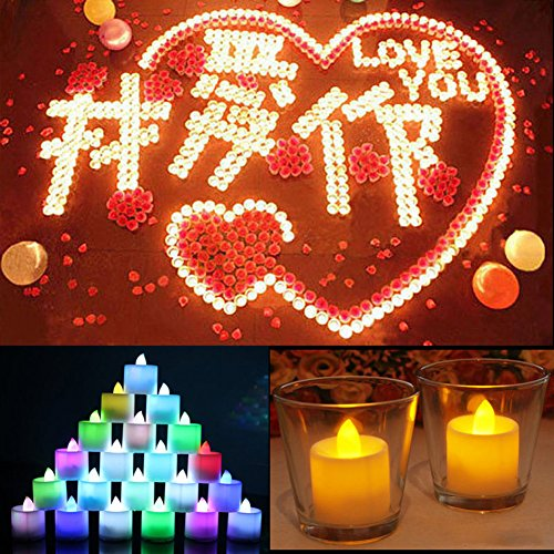 sundatebe sin llama velas LED luz lámpara velas ideal Proponer decoración para boda fiesta 24pcs/set, color Multicolor, tamaño talla única