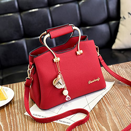 LiZhen pelle Pu caso pacchetto new trendy tote bag hanging minimalista spalla selvatici un algebra lineare, Pink Lady Borsa Vino rosso