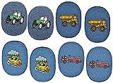 Unbekannt 8 Stück - ovaler Flicken / Bügelbild Jeans - Fahrzeuge - 8,5 cm * 11,5 cm - oval - Bügelbilder - Aufnäher Aufnähen und Bügeln / Applikation für Jungen Kinder ..