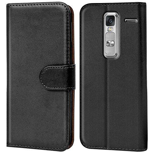 CoolGadget Class Hülle, Handyhülle LG Class Tasche PU Leder Flip Case Brieftasche Handy Schutzhülle für LG Class Cover - Schwarz