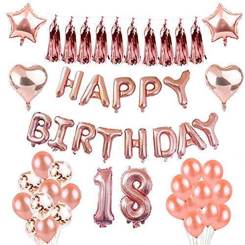 Weimi 18. Party Dekorationen Aufblasen Happy Birthday Ballons Konfetti Ballon