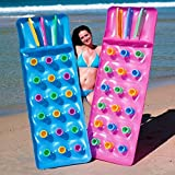 2x Bestway Inflatable 18 Pocket Fashion Sun Lounger Lilo Swimming Pool Air Bed Mat
