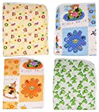 #1: Dolphers Changing Mat for New Born Baby - Plastic & Cotton Foam Cushioned Baby Waterproof Sheets - Baby Sleeping Mat # Pack of 4 # Age: 0-6 months # Assorted Colors