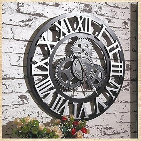 Europäische Wanduhr Vintage Silent Walls Uhren mit Creative Hollow Design mit arabischen / römischen Ziffer Display für Küche Wohnzimmer Home Office Hotel Dekoration Geschenke European Antique 3D Gear Holz Wanduhr Gold Silber (Größe Durchmesser 50cm) Industrielle Wanduhr ( Farbe : Roman-Silver )