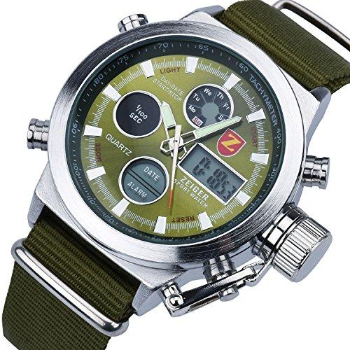 ZEIGER Militär Serie Grün Herren Uhr Analog Digital Chronograph Alarm Zwei Zeitzonen Herren Armbanduhr W220
