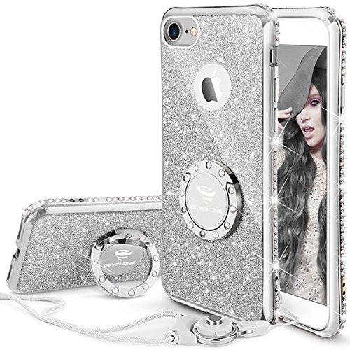 iPhone 7 Hülle, iPhone 8 Hülle, Silber Glitzer Handy Hülle iPhone 7 mit Ring 360 Grad Ständer und Trageband Silikon Diamant Bling Schutzhülle für Frauen Mädchen Apple iPhone 8/7 Hülle - 4,7 Zoll