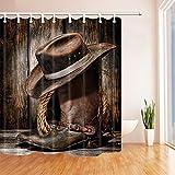 Nyngei Western Cowboy Stiefel Deko-Holz-Farm-Vorhang Stoff Polyester Wasserdicht Duschvorhang 180x 180cm Duschvorhang Haken in braun