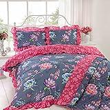 Just Contempo Floral de cama edredón cover set, Grape Blue, matrimonio