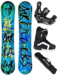 AIRTRACKS SNOWBOARD SET /PACK/ PLANCHE SKULL WIDE ROCKER + FIXATIONS SAVAGE + CHAUSSURES DE SNOWBOARD + SB SAC/ NEUF