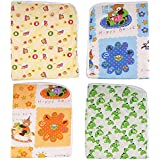 Dolphers Changing Mat for New Born Baby - Plastic & Cotton Foam Cushioned Baby Waterproof Sheets - Baby Sleeping Mat # Pack of 4 # Age: 0-6 months # Assorted Colors