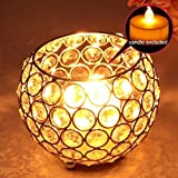 DreamKraft Silver Round Crystal Votive Candle Holders | Tealight Holder Lantern For Decoration | Tea Light Candle Holder For Home Decor-11 CM