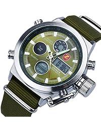 Zeiger W220 - Reloj deportivo para hombre de cuarzo con doble zona horaria, cronómetro, alarma y cronógrafo