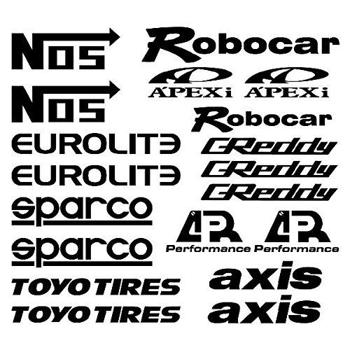 AEM-Brembo-Kaminari-Nismo-Tanabe-Tein-VeilSide Logo Set Aufkleber Autoaufkleber Sticker Auto`+ Bonus Testaufkleber
