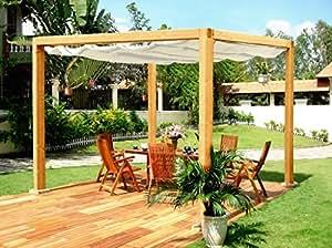 g c rom klassiche rechteckige pergola aus holz mit einziehbarem dach. Black Bedroom Furniture Sets. Home Design Ideas