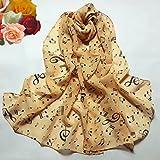 DDLBiz Sciarpe delle donne della signora della nota musicale Chiffon Sciarpa al collo scialle Marmitta (beige)