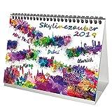 Skylinezauber · DIN A5 · Premium Tischkalender/Kalender 2019 · USA · Asien · Kanada · Europa · Skyline · Stadt · Großstadt · Kunst · Malerei · Aquarell · Edition Seelenzauber