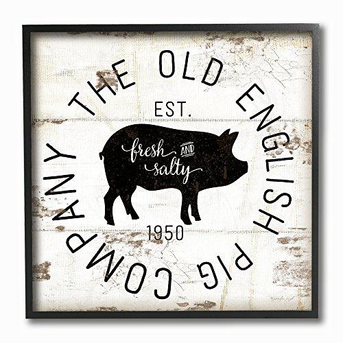 Stupell Industries Old English Pig Co, Vintage-Schild, gerahmt, Giclée-Texturized Art, 30,5 x 1,5 x 30,5 cm