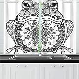 JIUCHUAN Dibujado a Mano Zentangle Rana Libro para Colorear Cortinas de Cocina Cortinas de Ventana Niveles para café, Baño, Lavandería, Sala de Estar Dormitorio 26 X 39 Pulgadas 2 Piezas