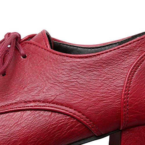 AllhqFashion Femme Lacet Rond à Talon Correct Pu Cuir Couleur Unie Chaussures Légeres Rouge