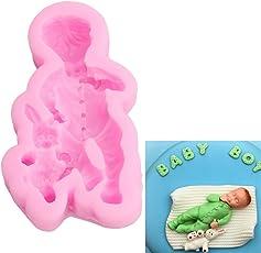 ODN 3D Baby Silikon Ausstechform Fondant für Tortenrand Deko Backform Kuchenform,Rosa