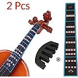 VCOSTORE Guía de dedo para violín y paquete de silenciador de goma, Notas de violín 3/4 Guía de adhesivos Gráfico de etiqueta