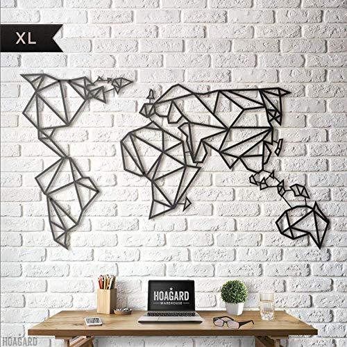 Hoagard Metal World Map Black XL - Hoagard Weltkarte aus Metall Schwarz XL | 80cm x 140cm | Geometrische Metallwandkunst, Wanddekoration