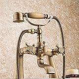NIHE Bañera antigua grifo de pie grifo de ducha mezclador baño grifo baño de teléfono con ducha de mano ducha grifo de baño